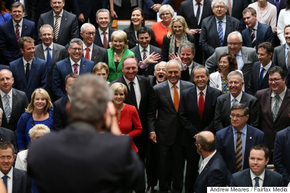 Philip Ruddock photobombs the official photograph of the 44th of Australia in the House of Represenatives at Parliament House with Prime Minister Malcolm Turnbull and Opposition Leader Bill Shorten in Canberra on Tuesday 15 March 2016. Photo: Andrew Meares